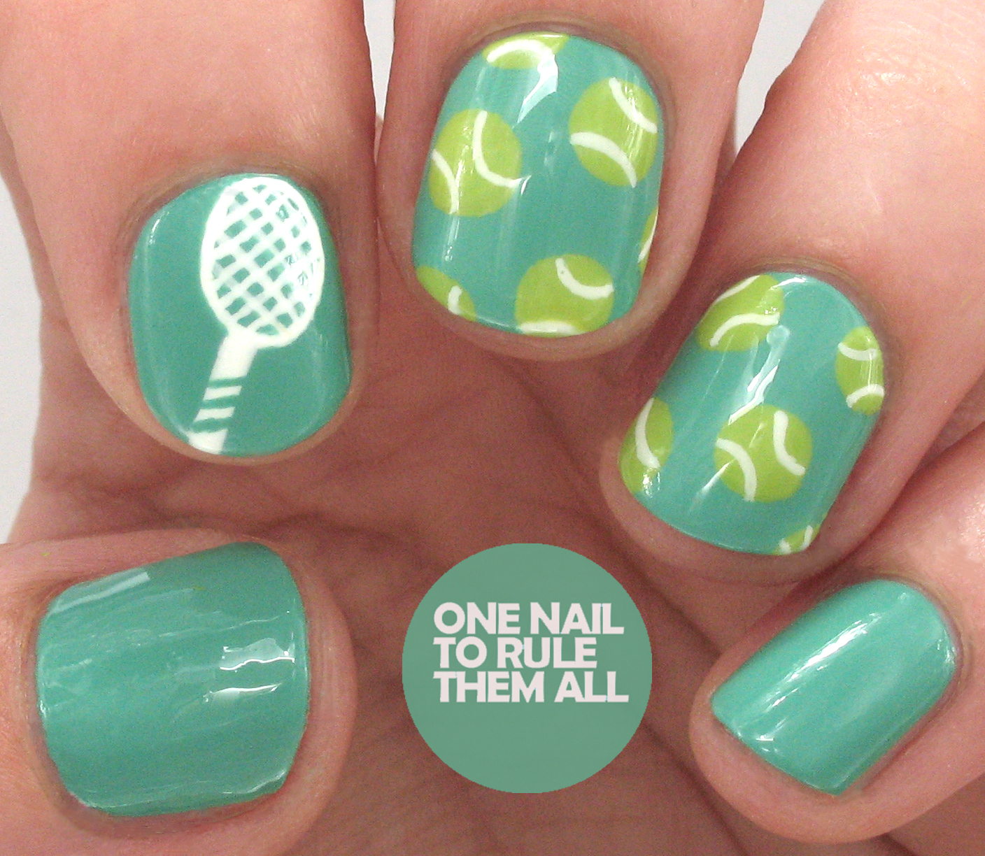 One nail to rule them all tenniswimbledon nail art for avon the base for these is avon turquoise pop and then i used acrylic paint for the white and a mix of colours for the green topped off with a coat of seche prinsesfo Choice Image