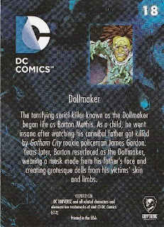 Back of New 52 DC Comics trading card #18 Dollmaker