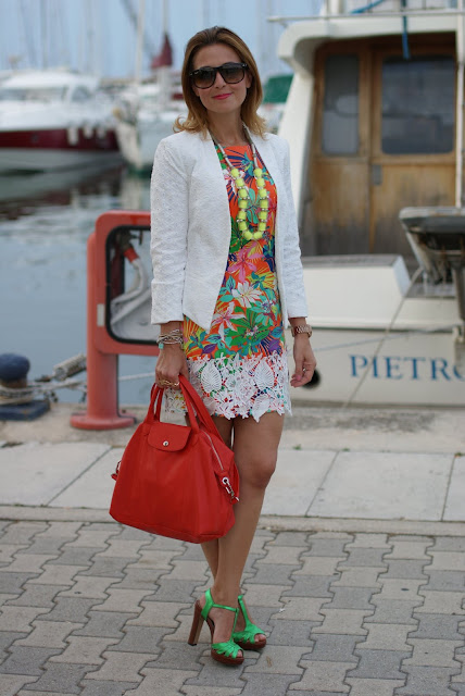 summer outfit, tropical print dress, lace jacket, Longchamp le cuir bag, Fashion and Cookies