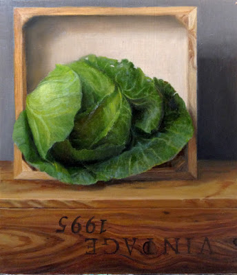 green cabbage still life, wine crate