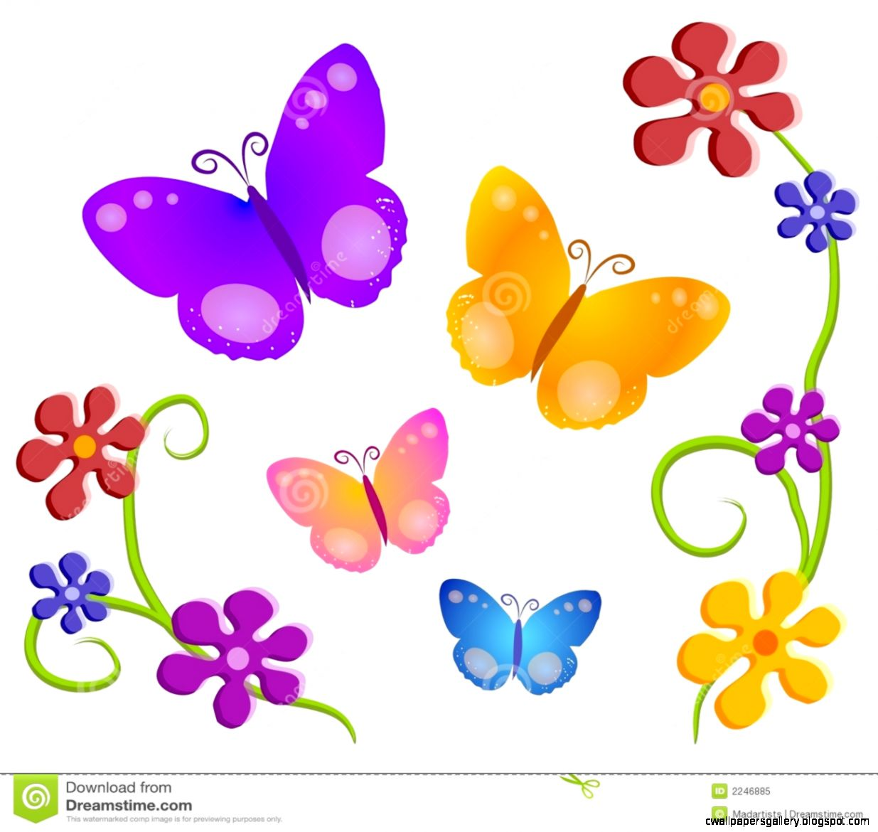 Butterfly Flowers Clip Art 01 Royalty Free Stock Image   Image