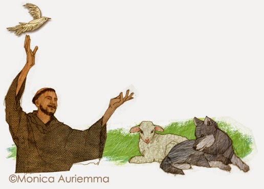 "Illustrazione.San francesco.di Monica Auriemma.""Leggo perchè..."" Mondadori Education"