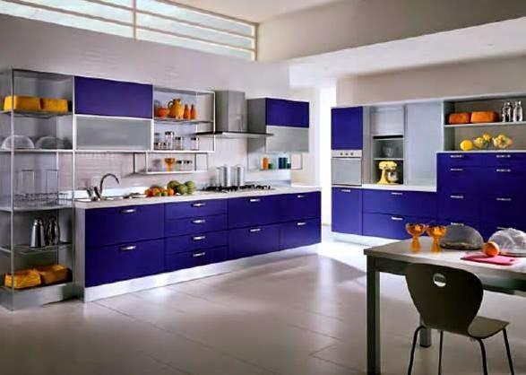 Mavi Mutfak Dolapları Takımları