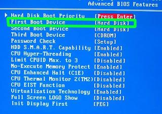 Cara Menyetting BIOS agar BOOTING dari DVD/CD ROM