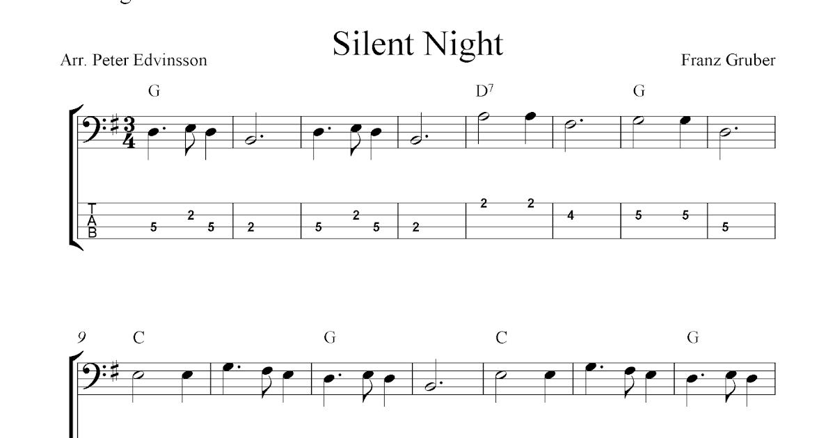 Silent Night, free Christmas bass tab sheet music notes