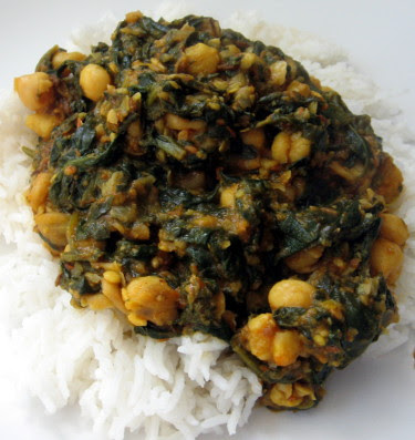 chole palak chickpeas and spinach