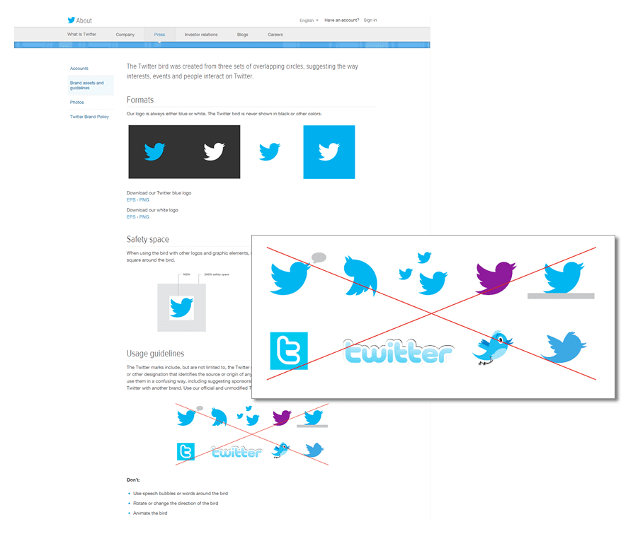An excerpt from Twitter brand guidelines