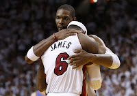 Bosh hugging James