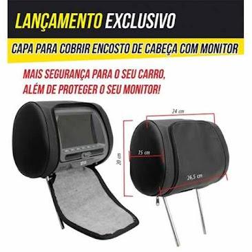 Capa Para Cobrir Encosto De Cabeça Preto Bege Cinza Grafite - R$ 55,00