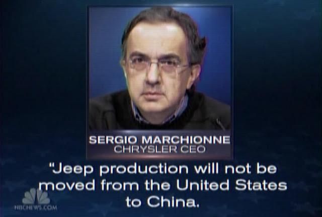 Sergio Marchionne in un fotogramma dello spot preparato dall'amministrazione Obama in risposta alle accuse di Mitt Romney riguardanti il trasferimento della produzione Jeep in Cina