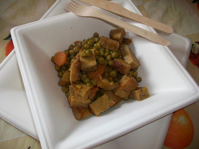 seitan con piselli e carote