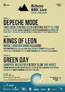 Distribución por días y horarios del Bilbao BBK Live Festival 2013