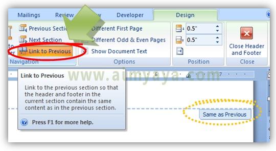 Gambar: Cara membuat section memiliki header/footer berbeda dengan header/footer pada section yang lain