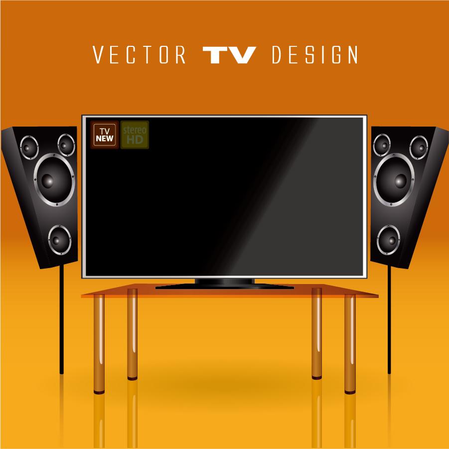 テレビ ホームシアター TV screen audio home theater イラスト素材