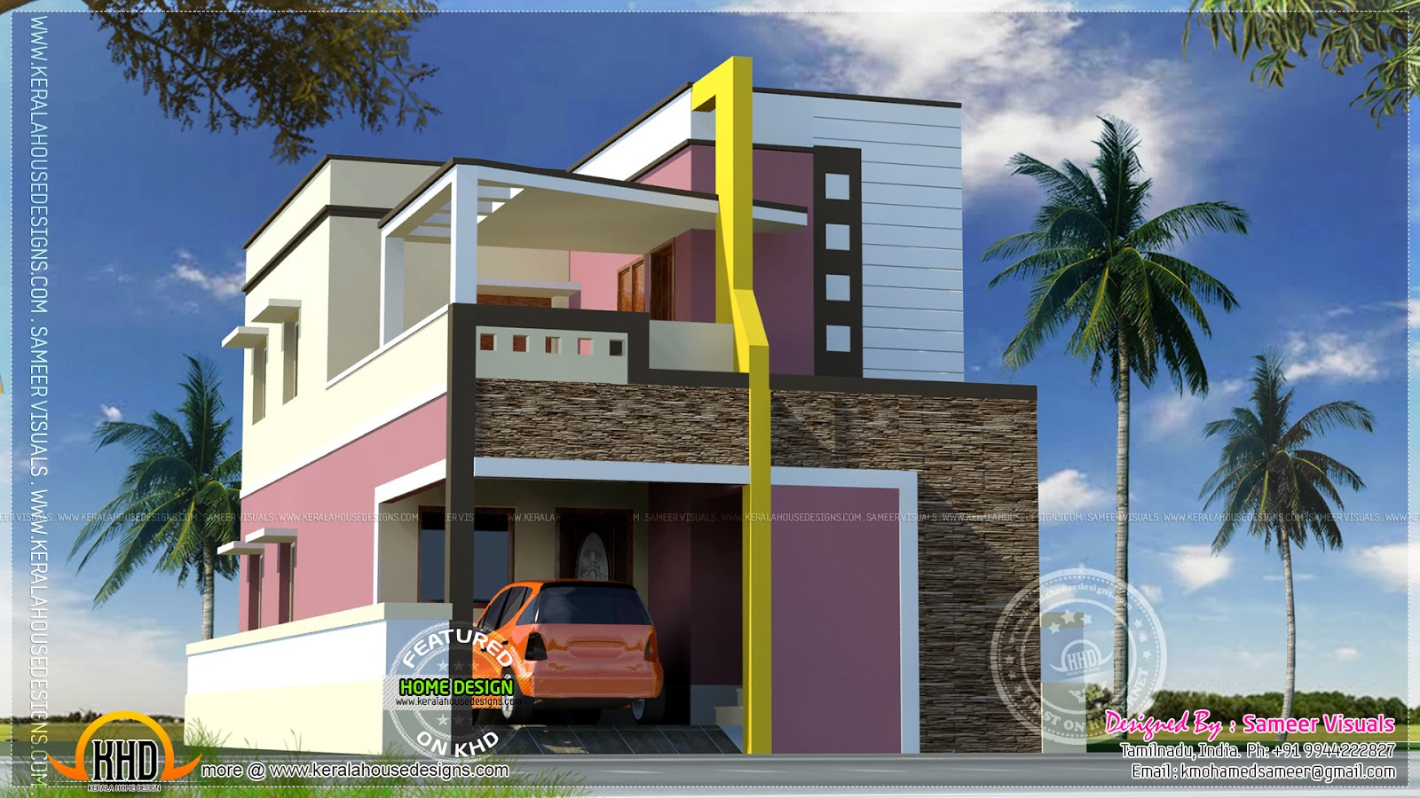 Modern style south indian house exterior home kerala plans for Home exterior design india residence houses