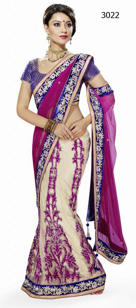 Letest Lengha type Saree-Online Shopping, Exclusive Designer Embroideries Resham Work Saree in Haryana