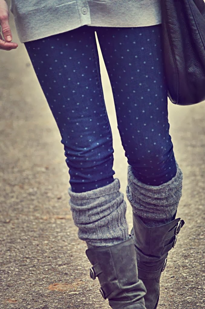 White polka dot skinnies, leg warmer and tan long boots