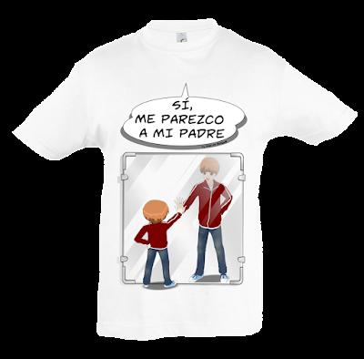 """Camiseta manga corta para niños """"Como dos gotas de agua (niño)"""" color blanco"""