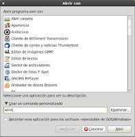 abrir con otra aplicacion Ubuntu