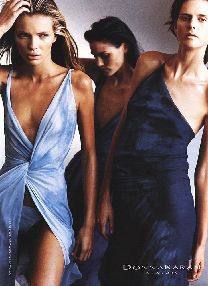 Esther Canadas, Mini Arden & Stella Tennant in Donna Karan New York Spring/Summer 2000 campaign photographed by Peter Lindbergh