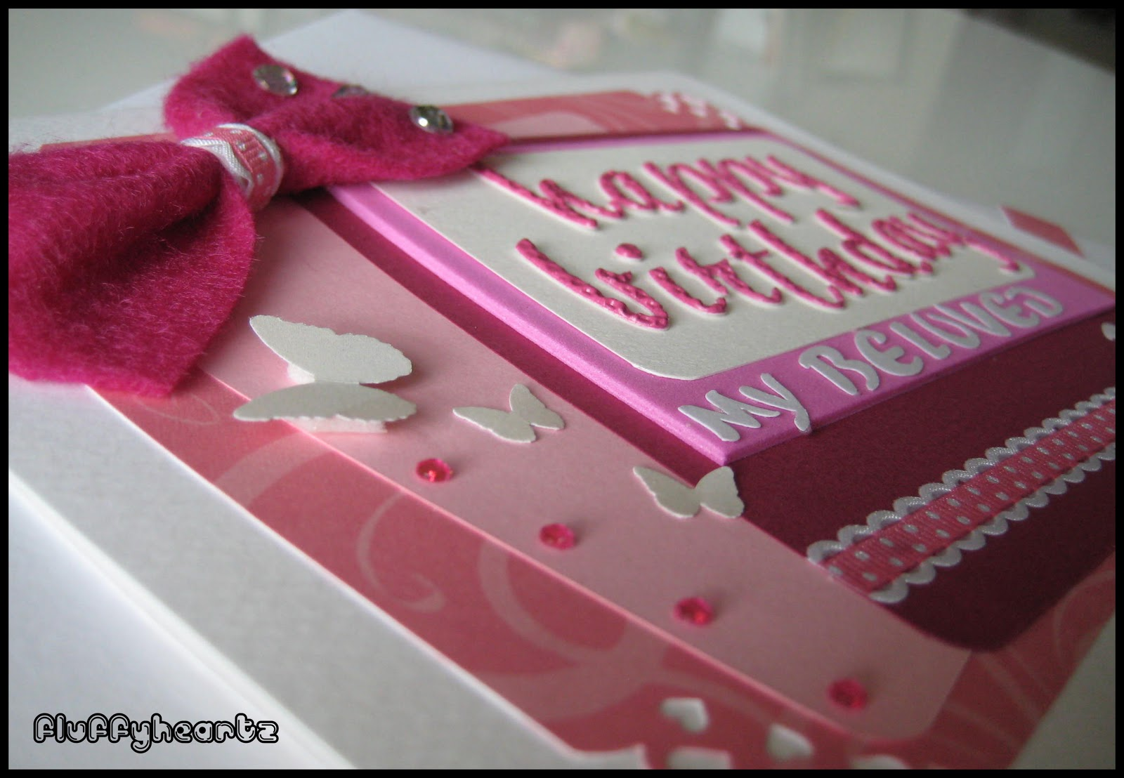 Fluffyheartz Birthday Card Pink Color Theme Jan 2012
