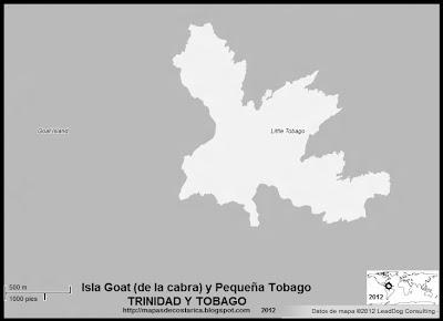Isla Goat (de la cabra) y Pequeña Tobago, blanco y negro  (Isla de Trinidad y Tobago)