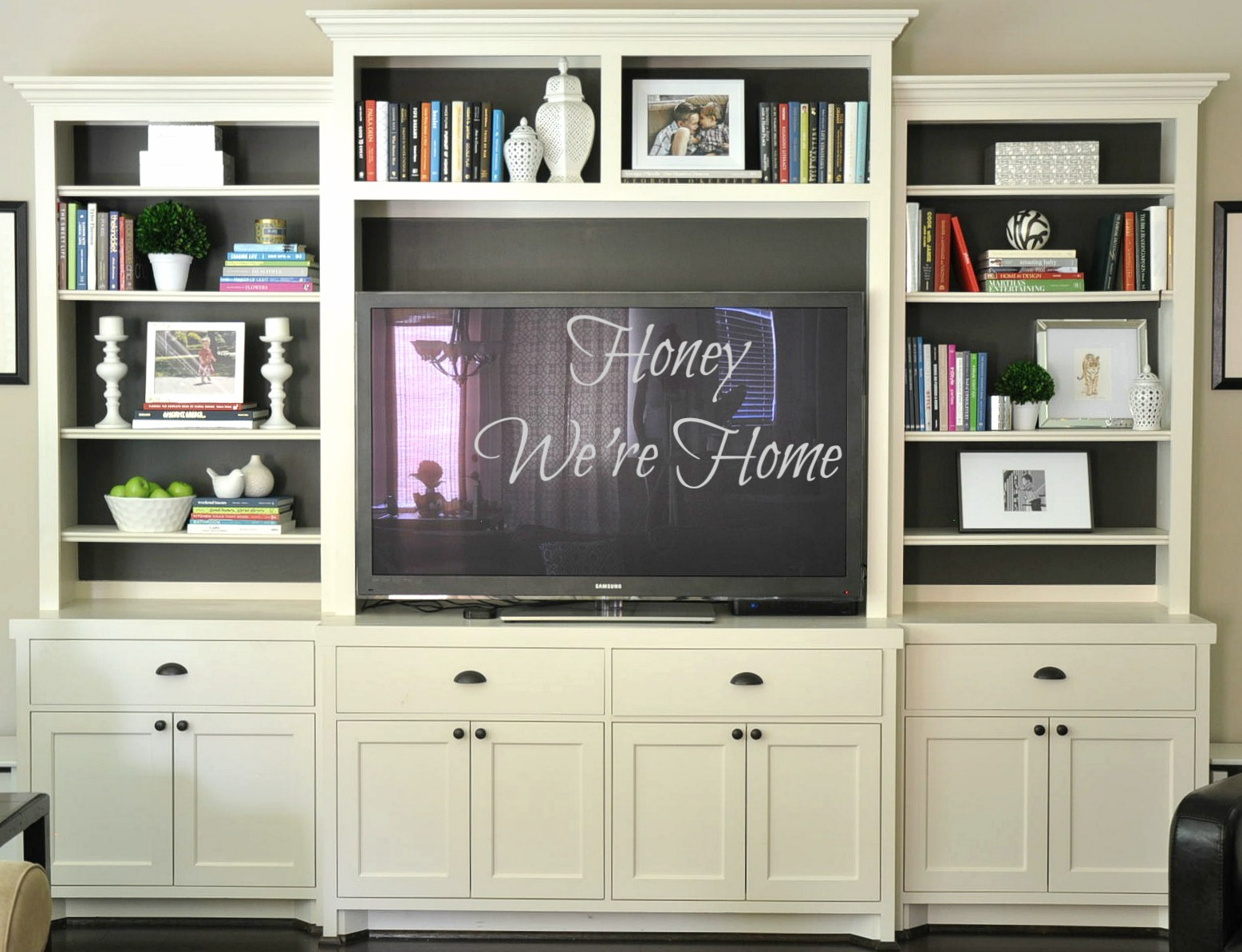 Painted Media Cabinet & Bookshelf Styling | Honey We\'re Home