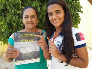 Aluna do Lordão é medalhista na Olimpíada Brasileira de Astronomia