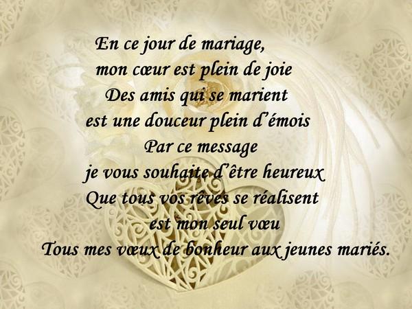en ce jour de mariage mon cur est plein de joie - Formule Felicitation Mariage