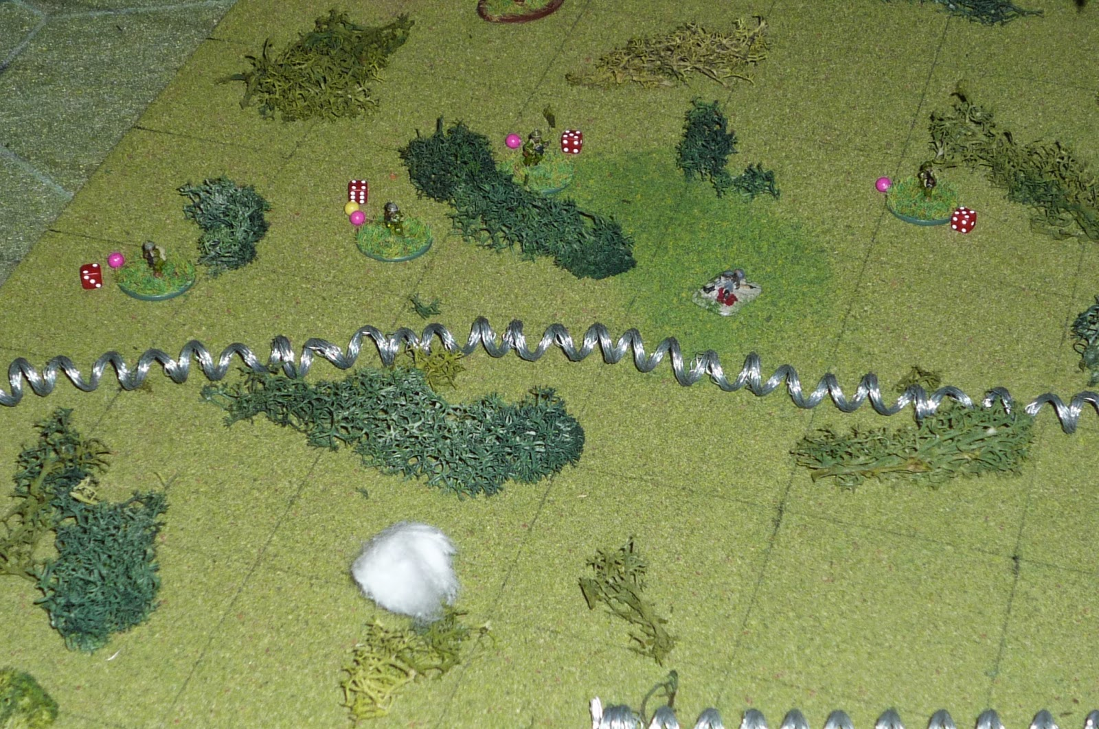 on the left claymore blows cotton puff putting one nva down lightly wounding one and putting stress on the other three