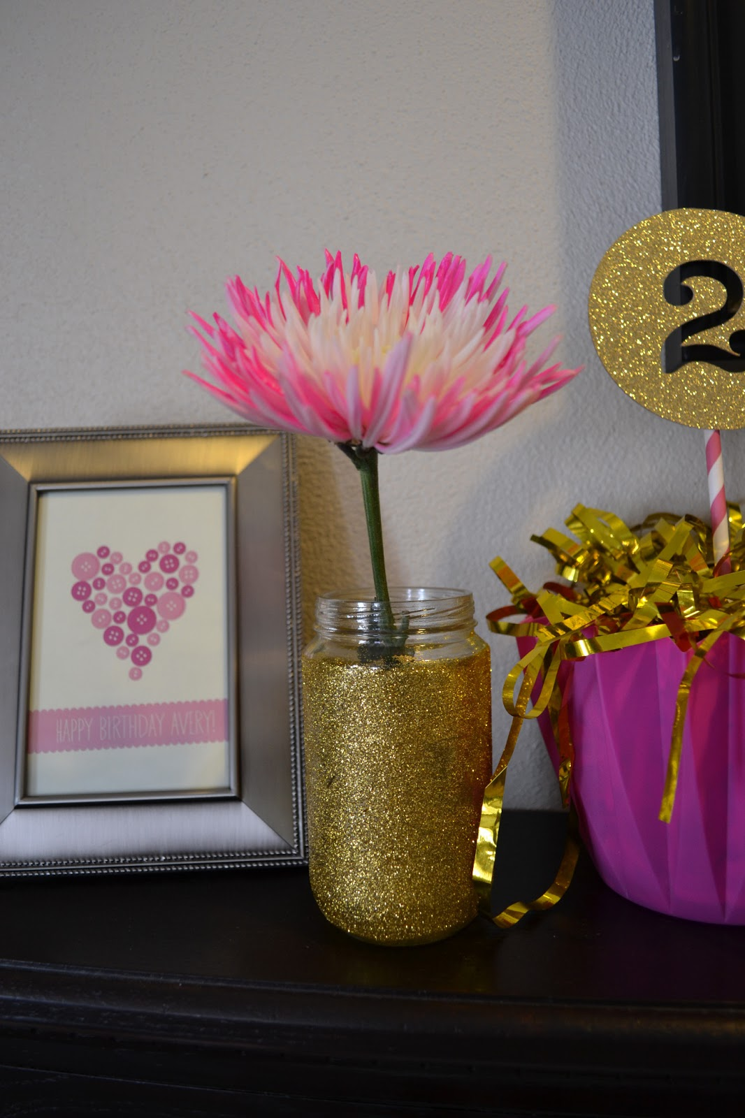 First comes love pink ombre gold glitter button party gold glitter vase made from modge podge gold glitter 2 decoration made from gold glitter paper cut with cricut striped straw attached with hot glue reviewsmspy