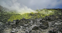 Steaming Surful and Sulfur Formations at the Sulfur Mines, Isabela Island, Galapagos