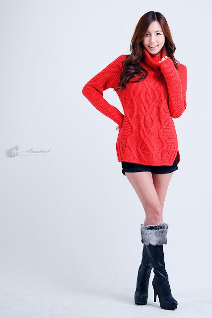 5 Lee Ji Min in Sweet Red-Very cute asian girl - girlcute4u.blogspot.com