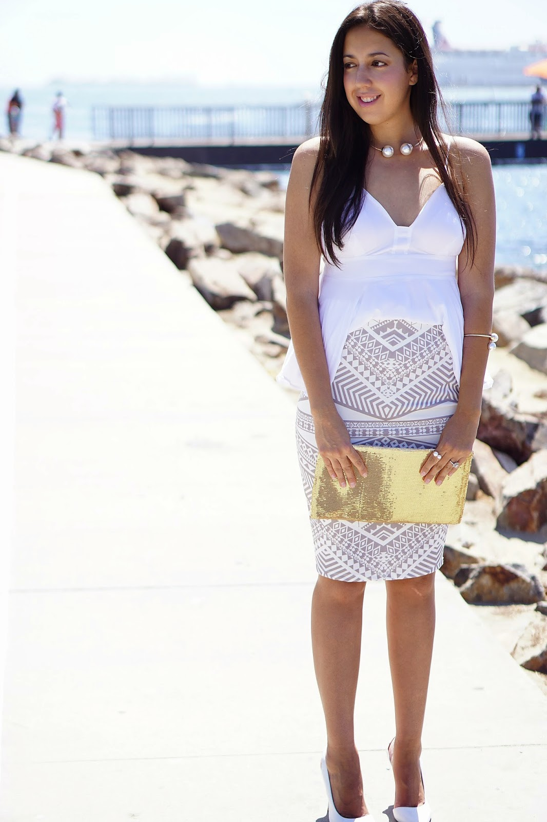 Express Babydoll Cami, Kardashian Kollection Skirt, Shoemint Teo Heels, Forever 21, Gold Clutch, Pearl Choker, Pearl Bangle, Pearl Open Ring, Kohls, White heels