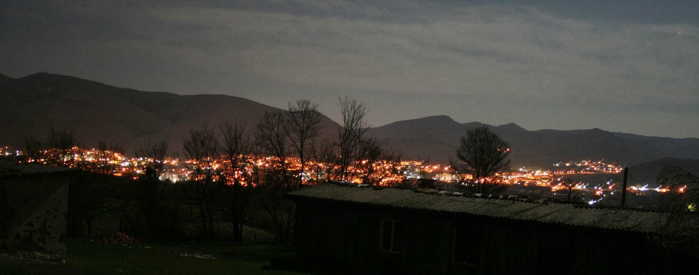 My local town glittering in the dark