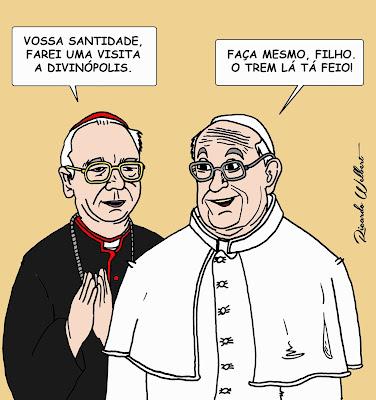 Esta charge é sobra a visita a Divinópolis, no dia 26 de setembro, de dom Cláudio Hummes, amigo do papa Francisco