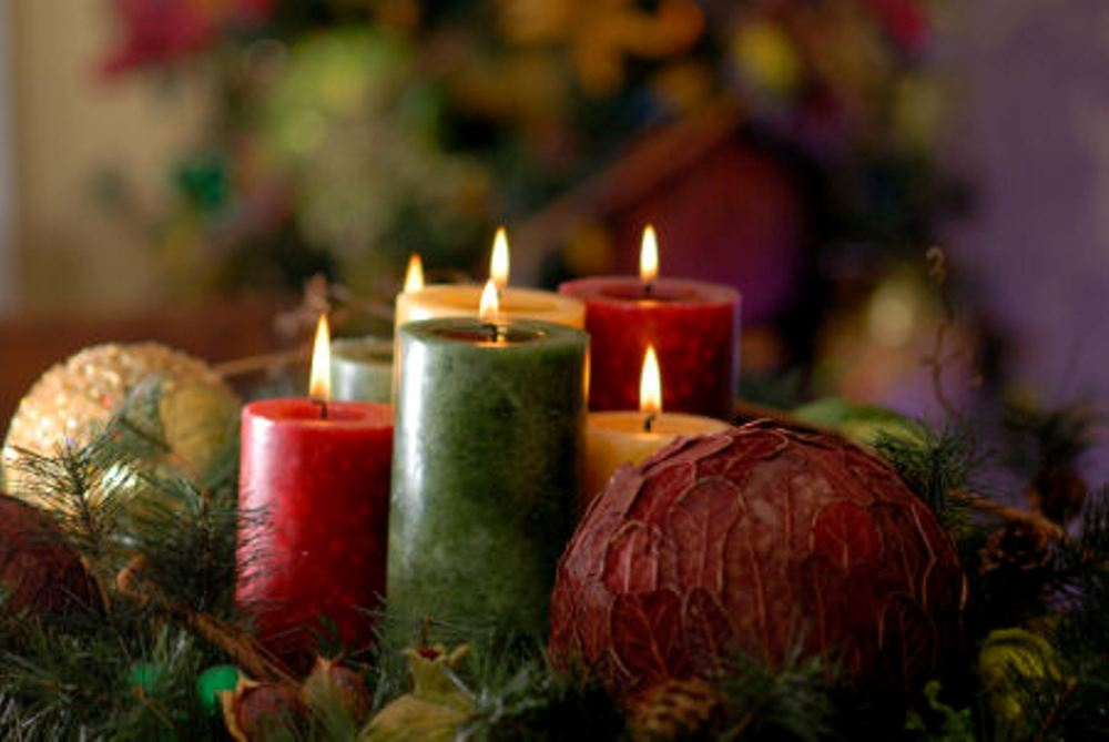 Christmas candle lights table decorations ideas images