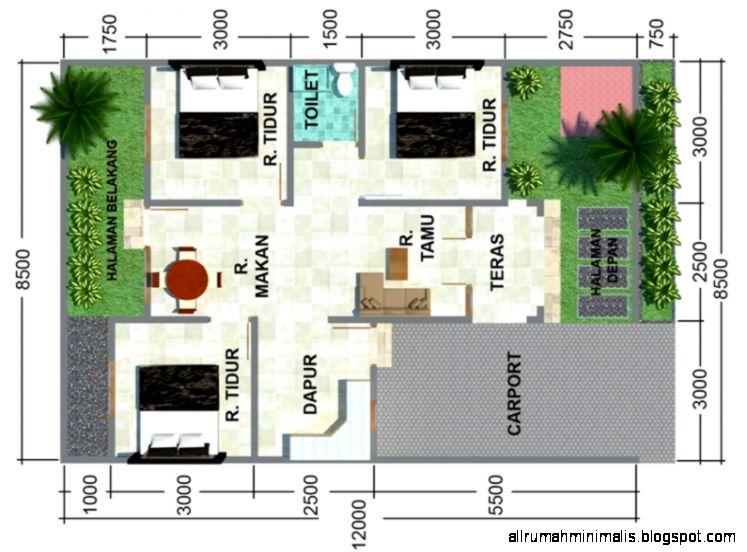 Denah Rumah Minimalis 3 Kamar Tidur  Gambar Rumah Minimalis 2015
