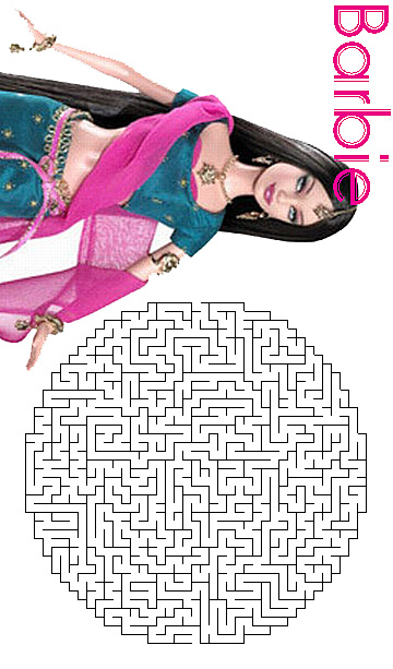 barbie coloring pages  barbie maze activity sheet