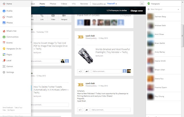 Google plus new layout
