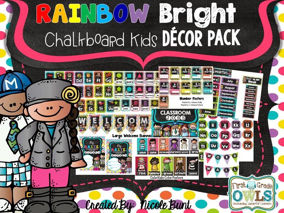Classroom Decor Packs ~ First grade o w l s july