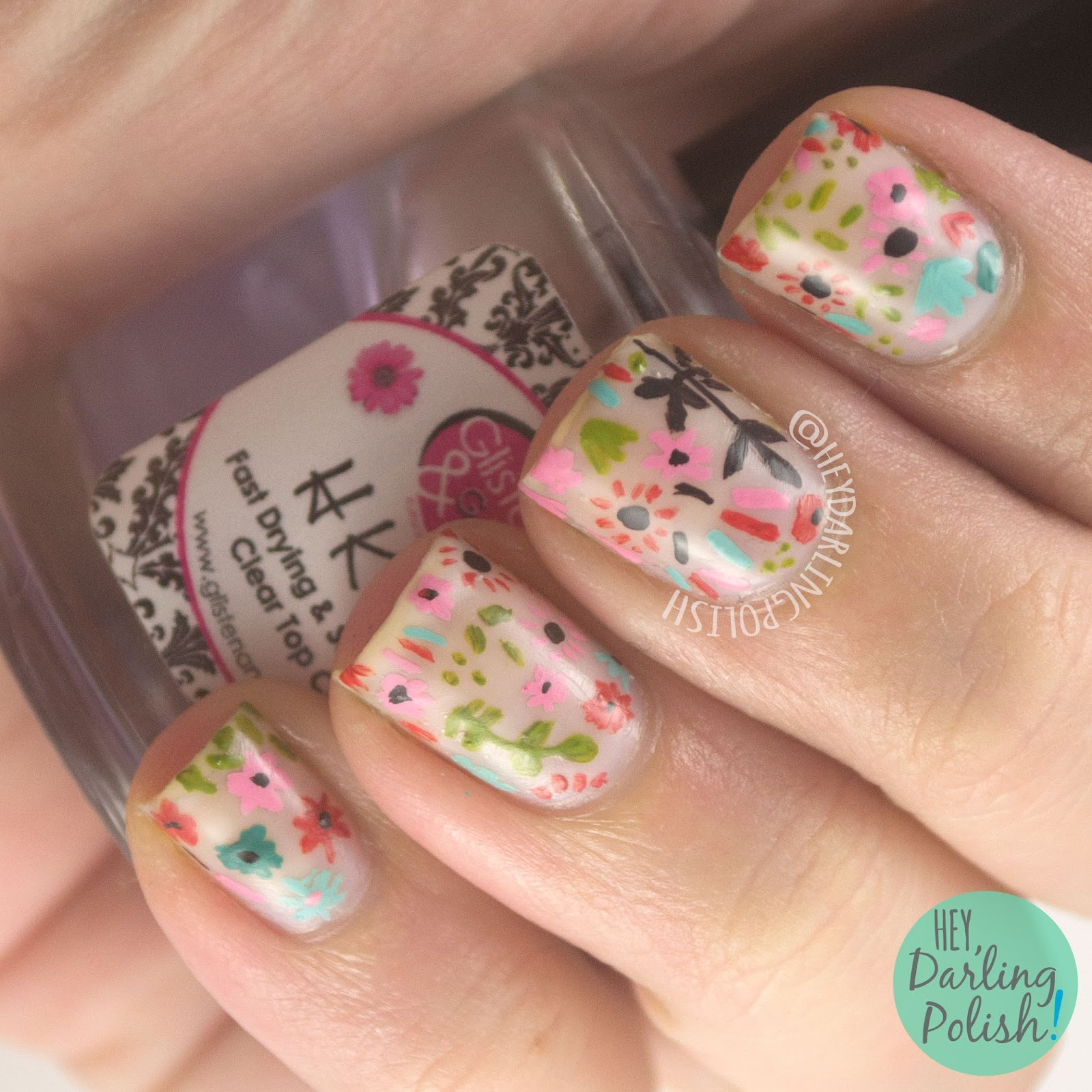 nails, nail art, nail polish, flowers, pattern, 31 day challenge, 31dc2014, hey darling polish