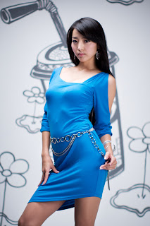 Seo You Jin Korean Sexy Model hot blue mini robe 2