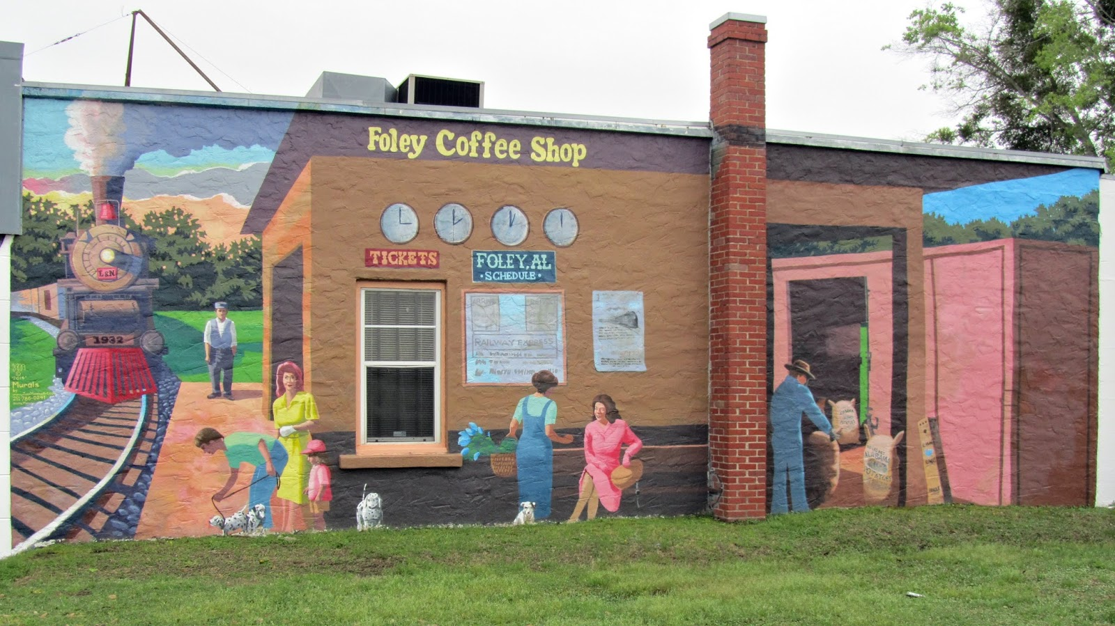 Beans and i on the loose monday mural foley coffee shop for Coffee shop mural