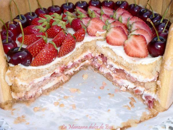 corte de la tarta charlota