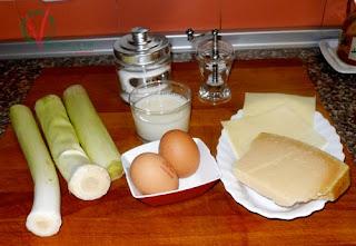Ingredientes de la Tarta-suflé de puerros.