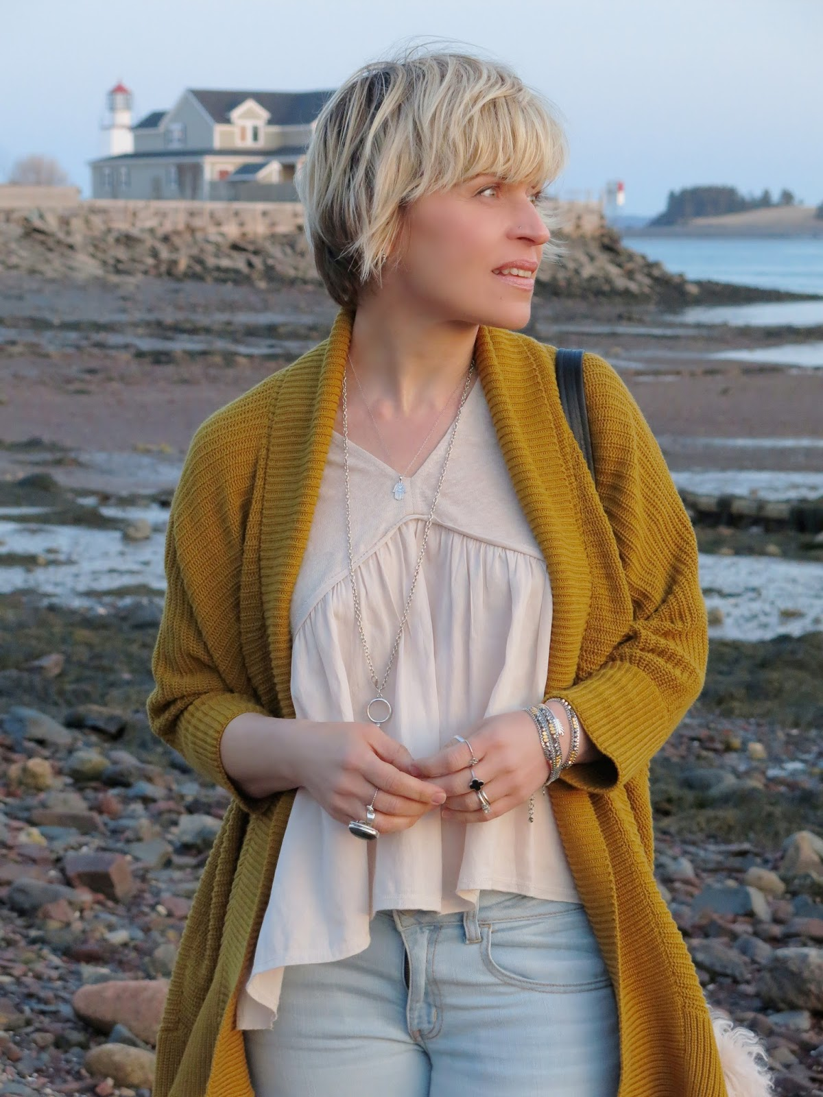 Zara top and slouchy mustard cardigan