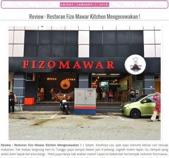 Kritikan blogger Kisah Emas Putih tentang perkhidmatan Restoran Fizo Mawar yang mengecewakan