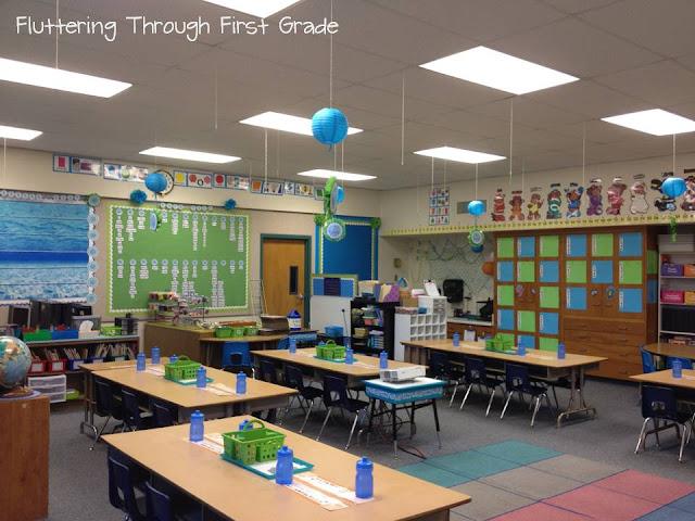 Classroom Decor Blue ~ Fluttering through first grade august