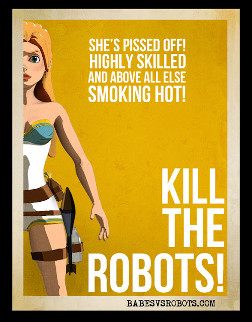Tiny Spaceman's cool retro posters for the iPhone game, Babes vs. Robots